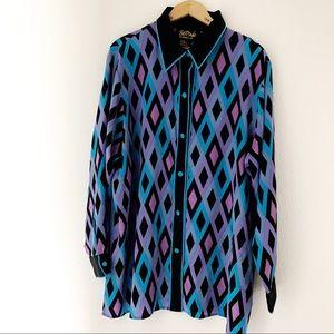 Bob Mackie career collared diamond shirt size 1X